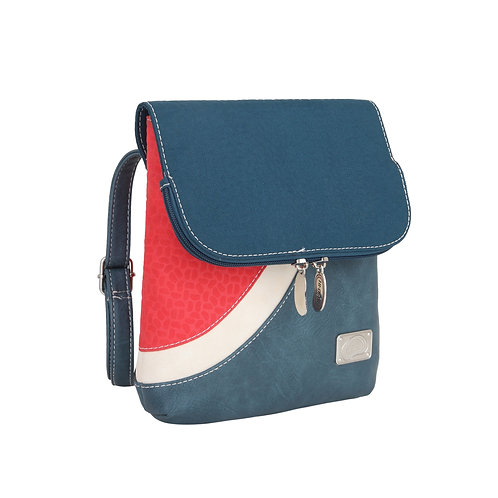 Blue and Pink Curved Band Crossbody Bag Vegan Leather