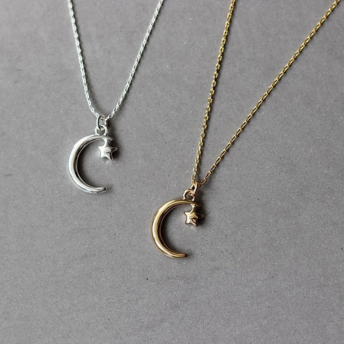 Gold - Large moon with small star  delicate pendant