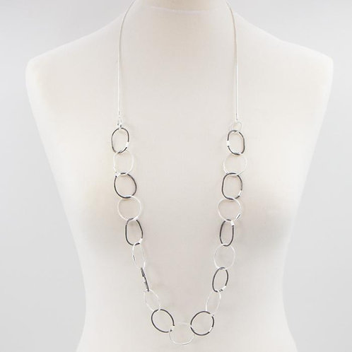 Contemporary interlinked circles long necklace