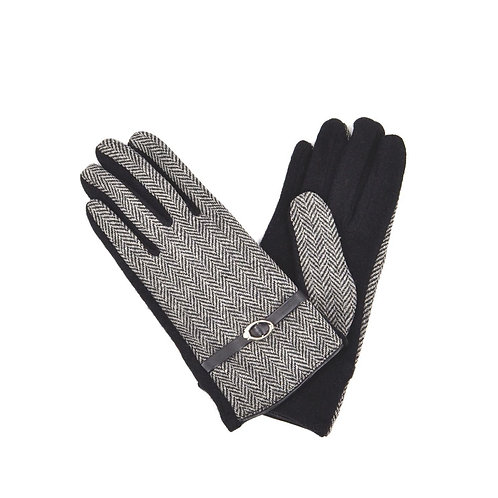 Weave Design And Buckle   Wool Gloves -Black