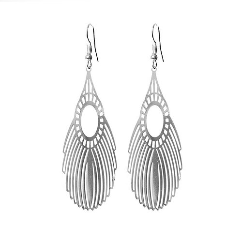 Silver plated filigree feather long drop earrings