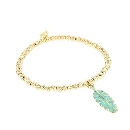 Stretch Bracelet in Gold Plate with Green Leaf
