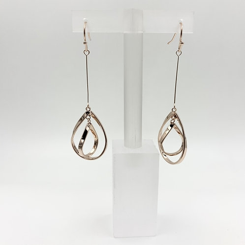 Double Loop Long Drop Costume Earring - Rose Gold
