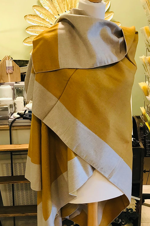 Mustard and Cream Reversible Wool Mix Cape