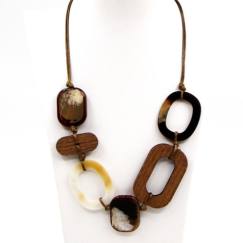 Adjustable resin and wood component short necklace