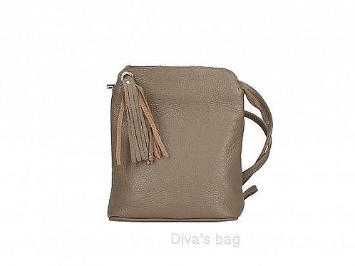 Dark Taupe Tassel Small Crossbody Bag - Italian Leather