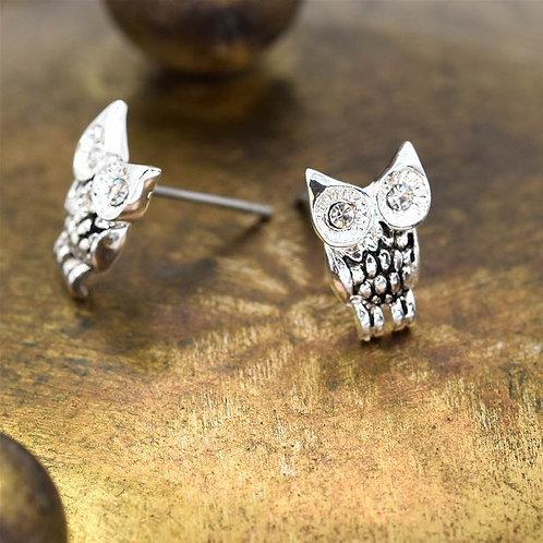Antique finish owl stud earrings
