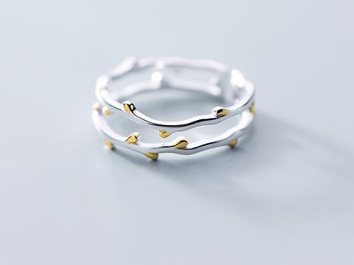 Sterling Silver Adjustable Ring Budding Branch