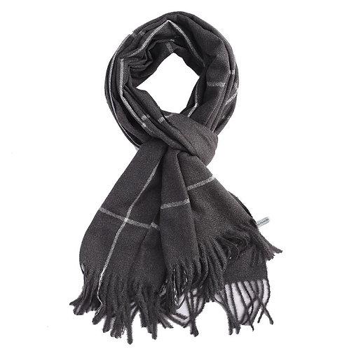 Super soft line print scarf - Black
