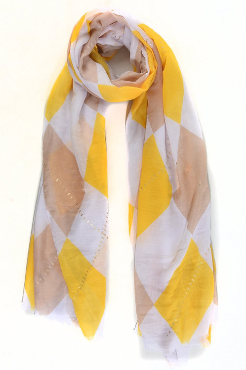 Harlequin check scarf with gold -tan and yellow