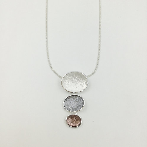 Circles mixed metal textured pendant