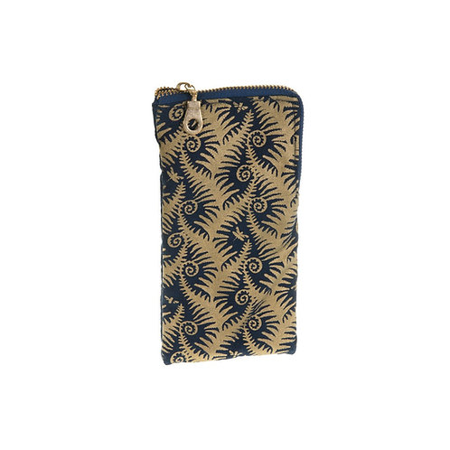 Fern Print Glasses Case Navy and Gold