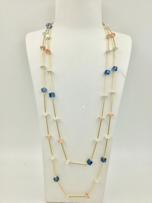 Double Strand Rose Gold Necklace with Blue Beads