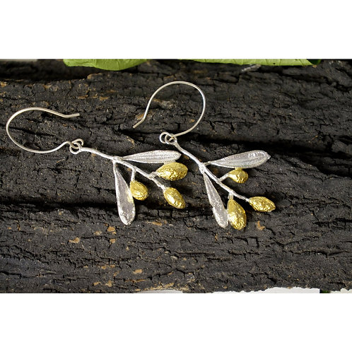 Sterling silver Olive tree, Branch, leaves and fruits Earrings