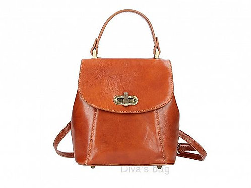 Small Structured  Backpack - Cognac Leather