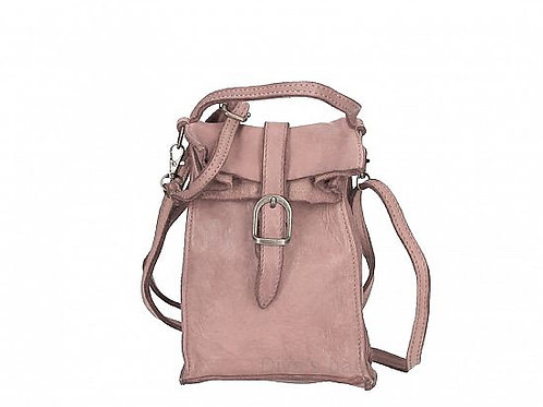 Small Buckle Crossbody Bag - Dusty Pink Italian Leather