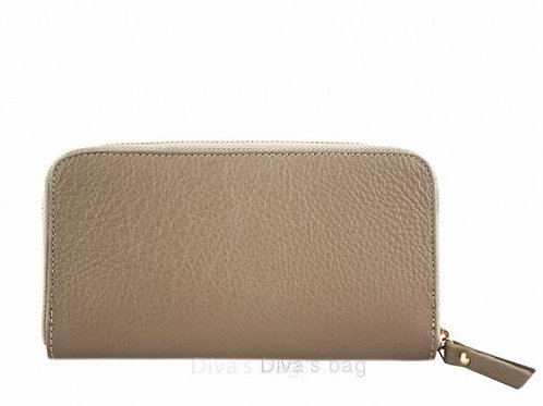Taupe - Italian Leather Purse/ Wallet