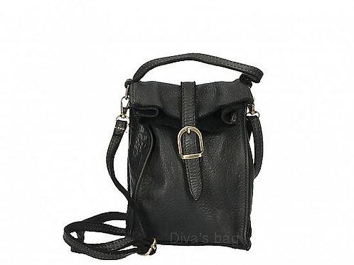 Black Small Buckle Crossbody Bag Italian Leather