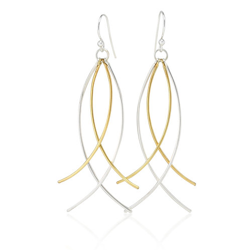 Sterling Silver and Gold plated dangle earrings