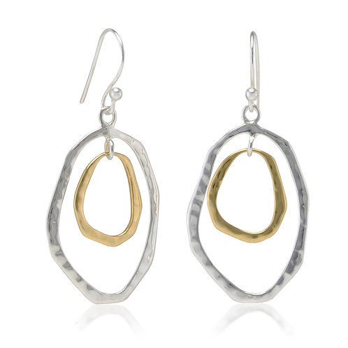 Sterling Silver and Gold plated hoop Earrings