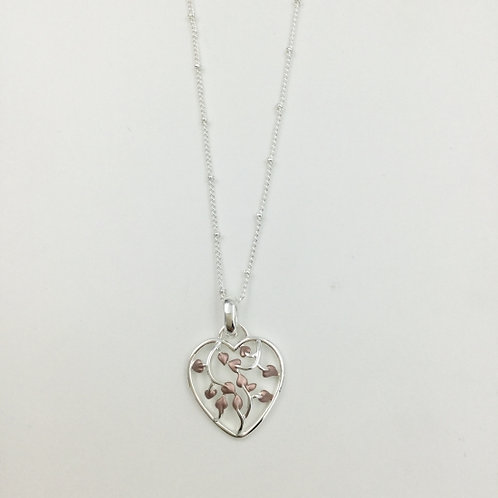 Silver Costume Heart Pendant with Leaves
