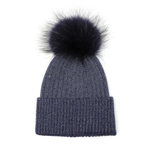 Pom Pom Knit Hat - Navy