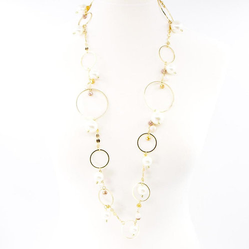 Circles and pearls mid length necklace -gold