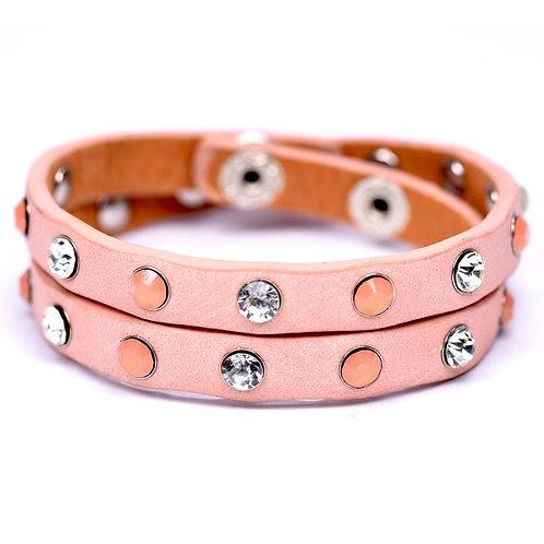 Wraparound bracelet with crystal & opal studs - pink