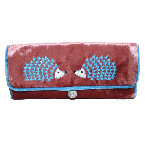 Hedgehog Embroidered Velvet Jewellery Roll -Rosewood