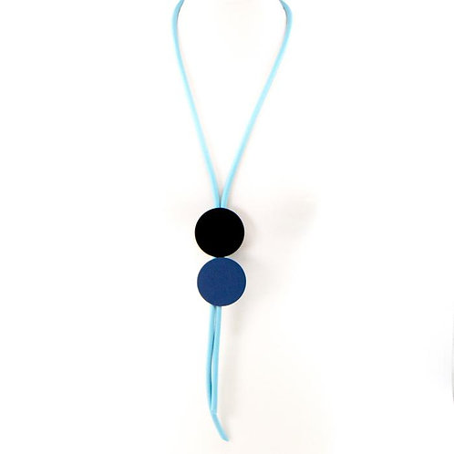 Double disc Y-shape neoprene necklace- Black and blue