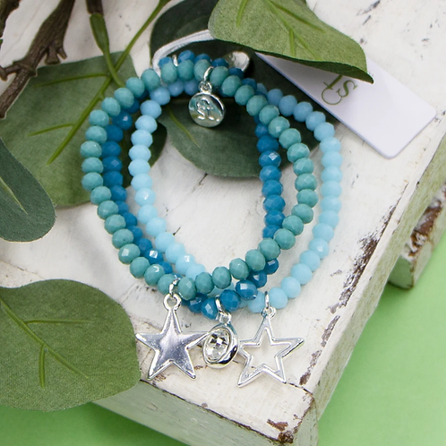 Set of 3 coloured beaded bracelets with crystal and star