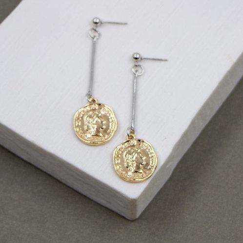 Single coin drop dangle earrings