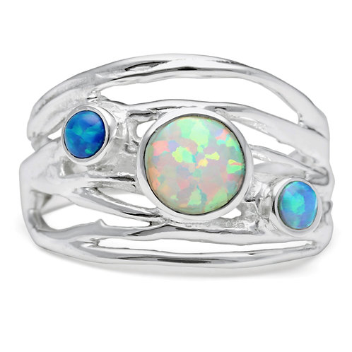 Trio of Opalite Silver Ring -R