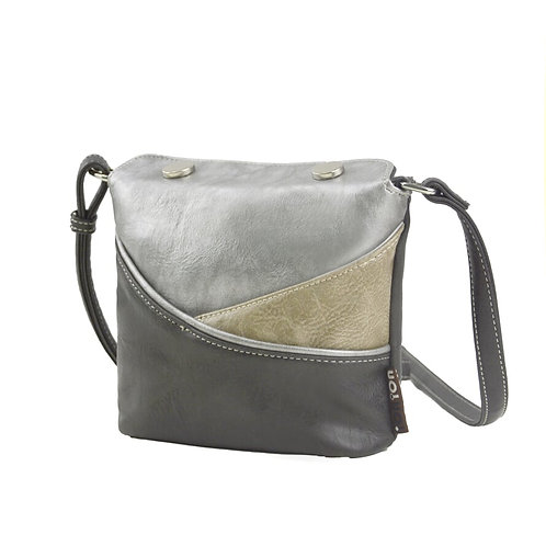 Black and Silver Small Cross Body Vegan Leather