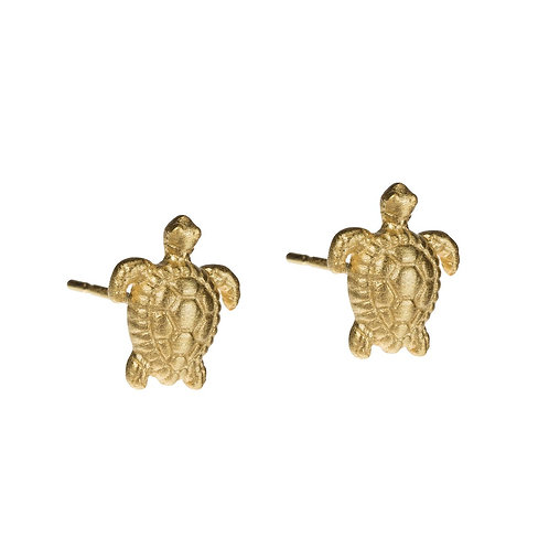 Turtle Stud Earrings 14k Gold Plating over Sterling Silver