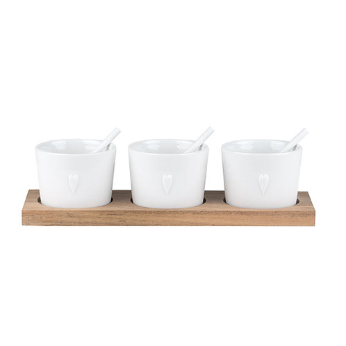 Three Heart Dishes on Wooden Stand