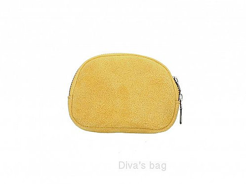 Mustard- Suede Italian Leather Pouch
