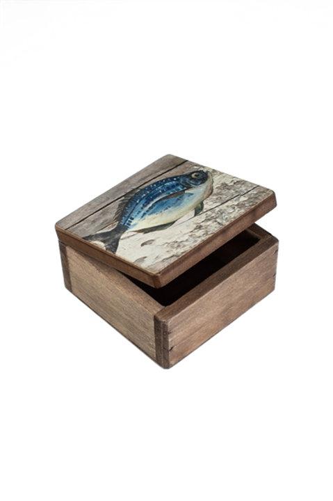 Square Wooden Fish Box