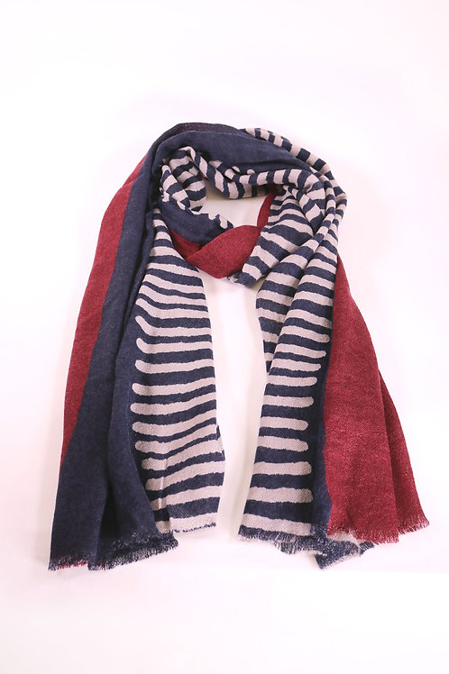 Two Tone Burgundy and Navy Stripe Scarf