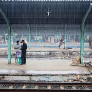 Rainy season in Mangga besar train station