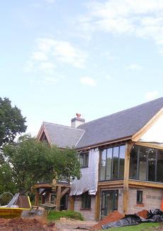 Oak framed house under construction