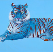 BLUE TIGER ON BLUE WITH RED STRIPES