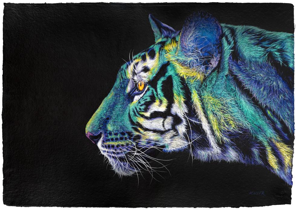GREEN-YELLOW TIGER ON BLACK, 2020