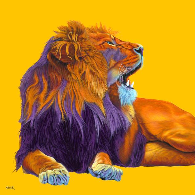 ORANGE LION ON YELLOW