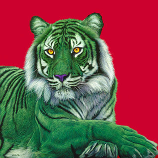 GREEN TIGER ON RED