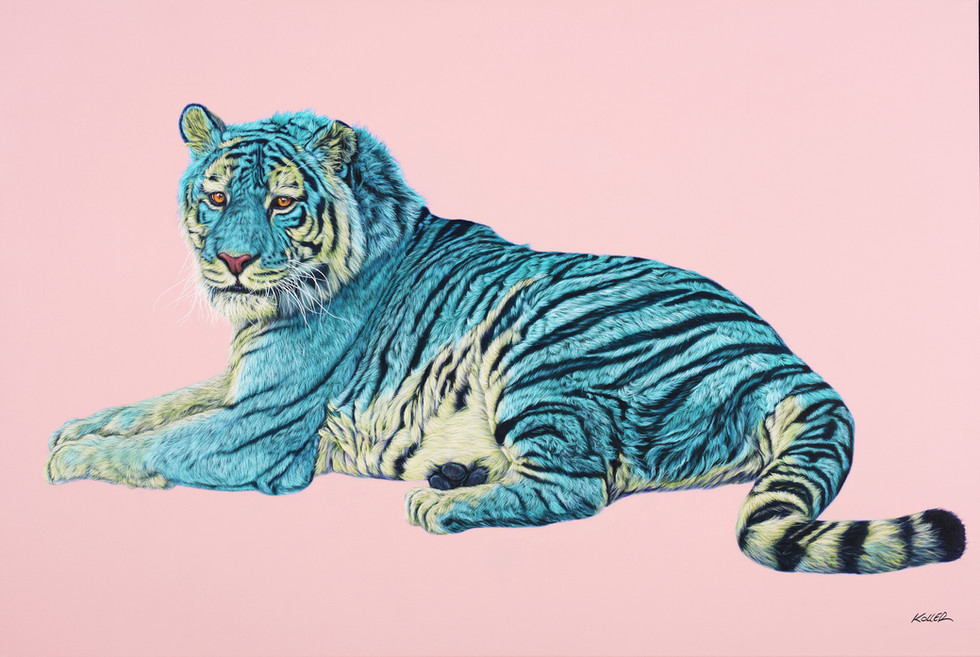 TIGER IN TURQUOISE & YELLOW, 2016