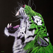 GREEN TIGER ON BLACK