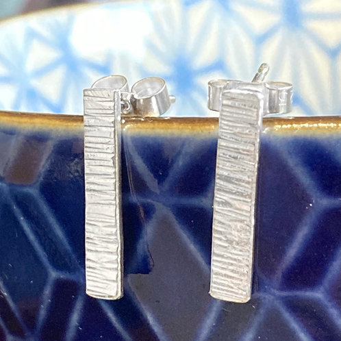 Silver bark texture stud earrings