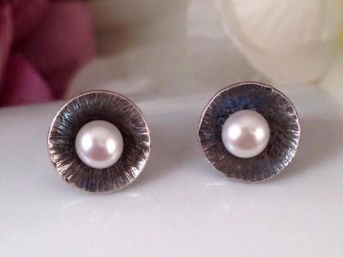 Oxidised silver & pearl stud earrings
