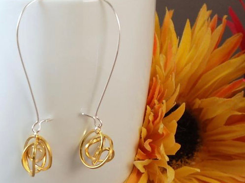 Tangle Drops - Silver with yellow gold detail
